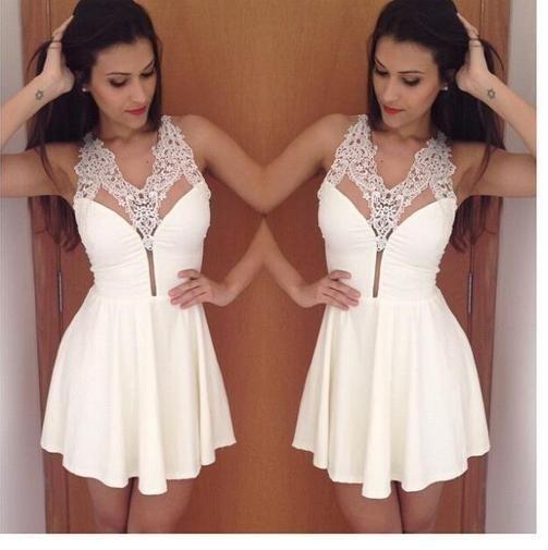 Sexy Sleeveless White Appliqiues Short Mini Prom Dresses