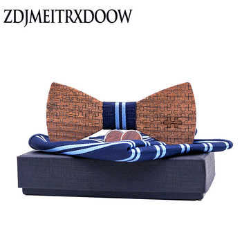 Wood Bowtie+Handkerchief+Cufflinks Sets for Mens Suit Wooden Bow Tie Bowknots Jigsaw puzzle Wedding Party Christmas tie - DISCOUNT ITEM  39% OFF All Category