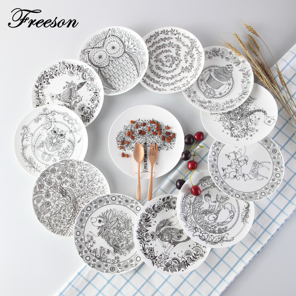 buy creative black white animal bone china cake dishes and plates pastry fruit. Black Bedroom Furniture Sets. Home Design Ideas