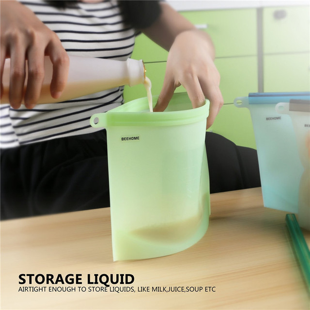 4PCS Silicone Food Preservation Bag Reusable Food Grade Silicone