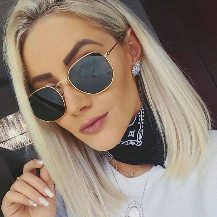 R.B.SKY 2018 Polygonal Women Sunglasses Men Glasses Lady Luxury Retro Metal Sun Glasses Vintage Mirror UV400 oculos de sol