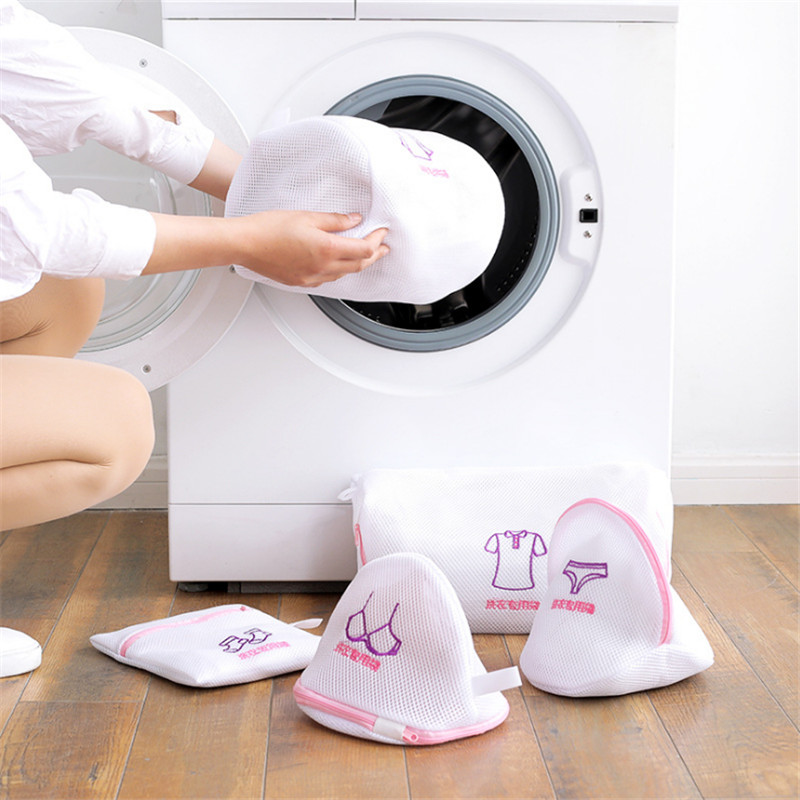 Zippered Mesh Laundry Bra Socks Underwear Wash Bags Foldable Delicates Lingerie Washing Machine Clothes Protection Net