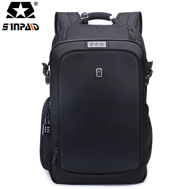 Sinpaid Nylon Black Backpack Waterproof Men's Back Pack 15.6 Inch Laptop Mochila High Quality Designer Backpacks Male Escolar-FF sinpaid 3 size backpack waterproof men s back pack 15 6 inch laptop mochila high quality designer backpacks male escolar ff