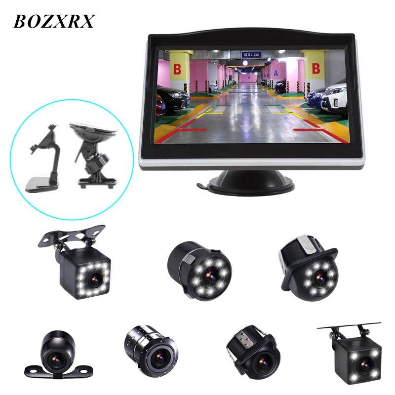 BOZXRX Parking Système LCD 5 HD Moniteur De Voiture avec Double Support + 170 Degrés Étanche LED Night Vision Voiture arrière Vue Caméra