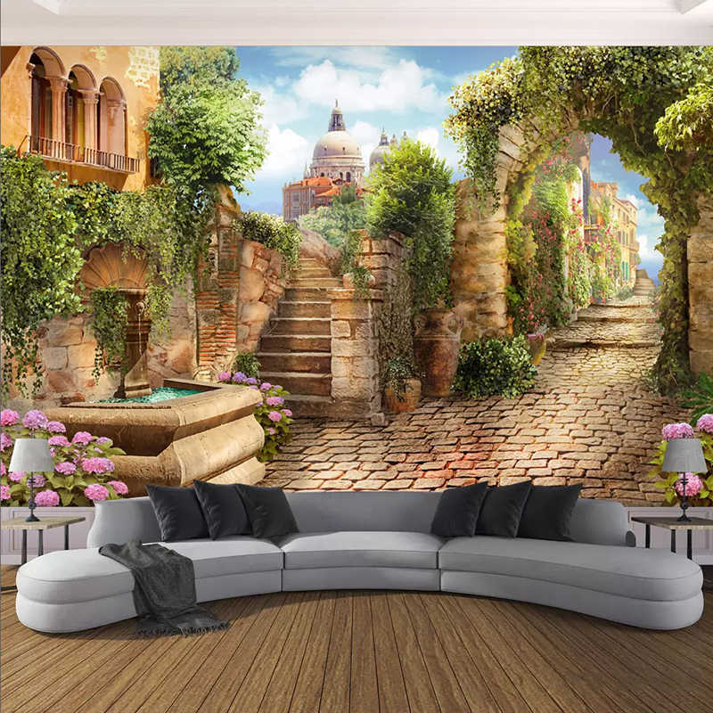 Photo Wallpaper European Style Street Landscape Murals Living Room Bedroom Building Background Wall Decor Papel De Parede Sala