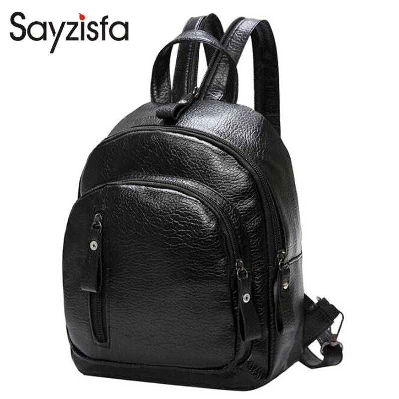 Sayzisfa Women Backpack Leather 2018 New Fashion Bag College Preppy