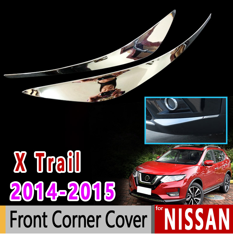 for Nissan X-Trail T32 MK3 Chrome Front Corner Cover Luxury High Quality 2014 2015 X Trail XTrail Accessories Car Sticker цена