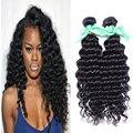 6A brasileiro virgem cabelo profunda curly virgem cabelo 1 pçs/lote brasileiro cabelo virgem onda profunda 100% extensão do cabelo humano natural preto