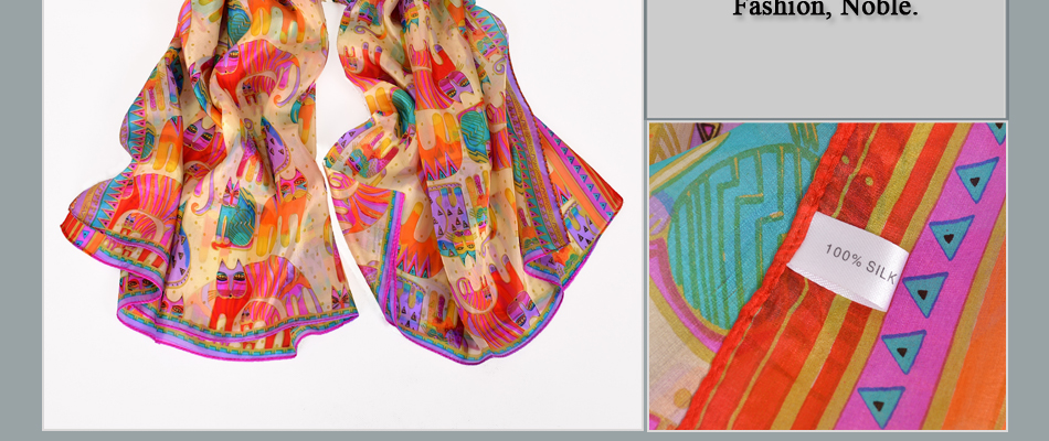 Long Colorful Cat Design 100% Silk Scarf