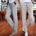 2016 Verão Calças de Lazer 4 Cores 100% Algodão Elástico Da Cintura calças de Linho Calças Dos Homens Regulares Retas Homens Calça Casual Calças de Linho Fundo