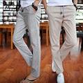 2016 Verano Pantalones de Ocio 4 Colores 100% de Algodón de Lino Elástico de La Cintura de Los Hombres Regulares Pantalones Inferiores Rectos Pantalones de Lino de Los Hombres Ocasionales