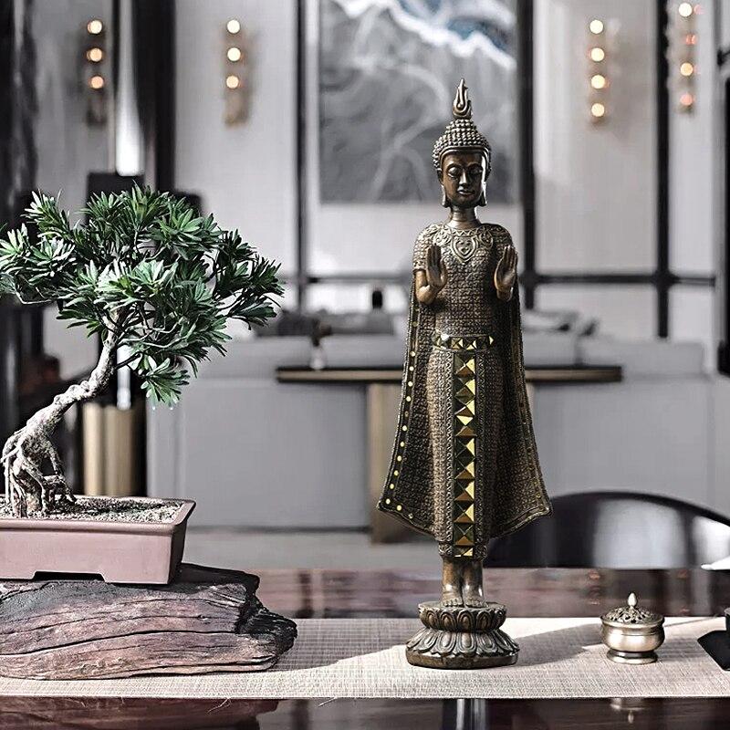 57 cm de hauteur Statue de bouddha debout à plat main bouddha thaïlande bouddha Sculpture hindou Figurine ornement décoratif à la maison