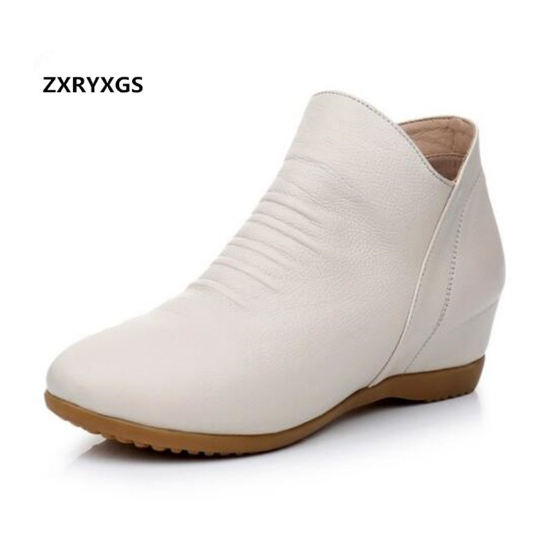 Light Elegant Increase Within Women Shoes Ankle Boots 2019 Newest Plus Velvet Winter Boots Soft Cowhide
