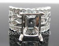 Изумрудная огранка мм 8x10 мм одноцветное 14Kt белого золота природных алмазов полу крепление кольцо