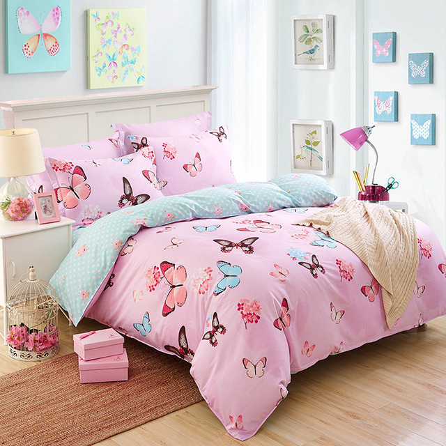 4 Pcs Bedding Sheet Eco  Friendly 100% Cotton Colorful Flowers /