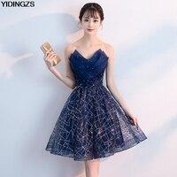 13930111d18 Short Evening Dress YIDINZGS Navy Blue Sequins Pleat V Neck Formal Party  Dress. Abito Da Sera ...
