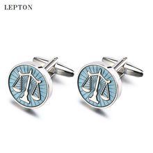 Hot Sale Libra Scales Cufflinks Lepton Stainless Steel Round balance Cuff links for Mens Shirt Studs Gift Lawyer Relojes gemelos cheap Tie Clips Cufflinks Fashion Classic LEPC0097-1 Simulated-pearl Metal Copper Light blue Zinc Alloy Newest Anniversary Engagement Gift Party Wedding