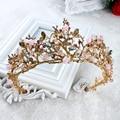 Banhado a ouro de luxo nupcial do casamento de cristal headband tiara artesanal por atacado coroas acessórios para o cabelo cabelo videira