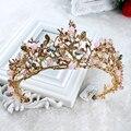 Chapado en oro de lujo nupcial tiara diadema hecha a mano de cristal al por mayor coronas pelo de la boda accesorios para el cabello de vid