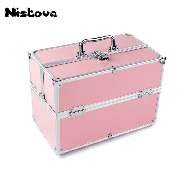 Makeup Train Case Professional Adjustable - 6 Trays Cosmetic Cases Makeup Storage Organizer Box with Lock and Compartments Pink pu leather makeup cases traval train jewelry storage box cosmetic lockable handle cosmetic makeup case empty makeup palette