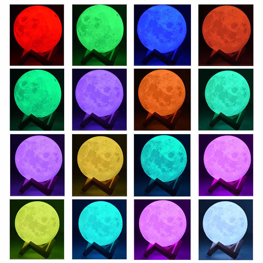 5W 3D impresión Luna lámpara de mesa interior dormitorio escritorio decoración 16 Color DC 5V USB carga para niños bebé Navidad Año nuevo regalo