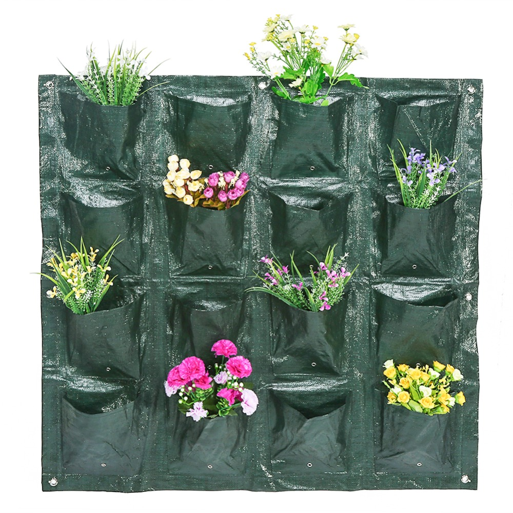 Vertical 4//8//16 Pockets Garden Wall Hanging Plant Growing Bag Flower Planter SS