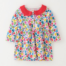 Little maven kids girls fashion brand 2019 autumn baby clothes Cotton toddler girl flower print dresses S0538