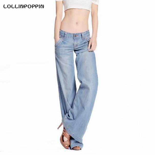 Women Light Blue Wide Leg Jeans Distressed Denim Pants Washed New 2017 Ladies Loose Fit Retro Jeans Bell Bottom Free Shipping