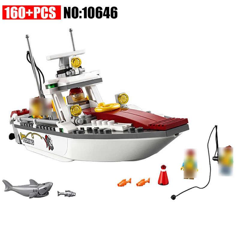 10646 160 шт. город серии Рыбалка лодка модель здания Конструкторы Набор DIY Кирпичи игрушечные лошадки для детский подарок 60147
