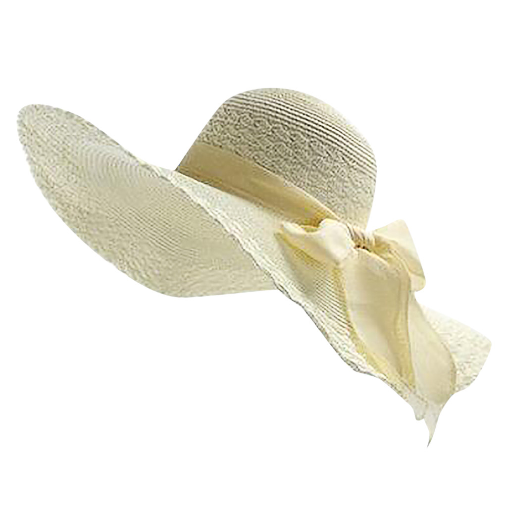 ISHOWTIENDA Womens Hats Fashionable Colorful Big Brim Straw Bow Hat Sun Floppy Wide Brim Hats Beach Cap Chapeau Paille #XTJ (China)