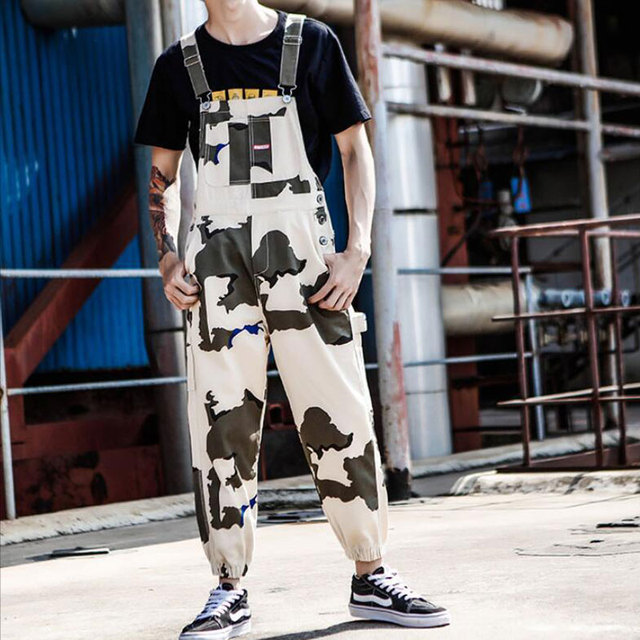 2019 New Japanese Camouflage jumpsuit Men's Beam pants Large size Casual Bib men's Harness Overalls More size S-XL XXL