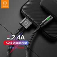 Câble USB Mcdodo pour iPhone lightning XS Max XR X 8 7 6 6s Plus cordon 2A câble de données de Charge rapide fil de chargeur LED à déconnexion automatique