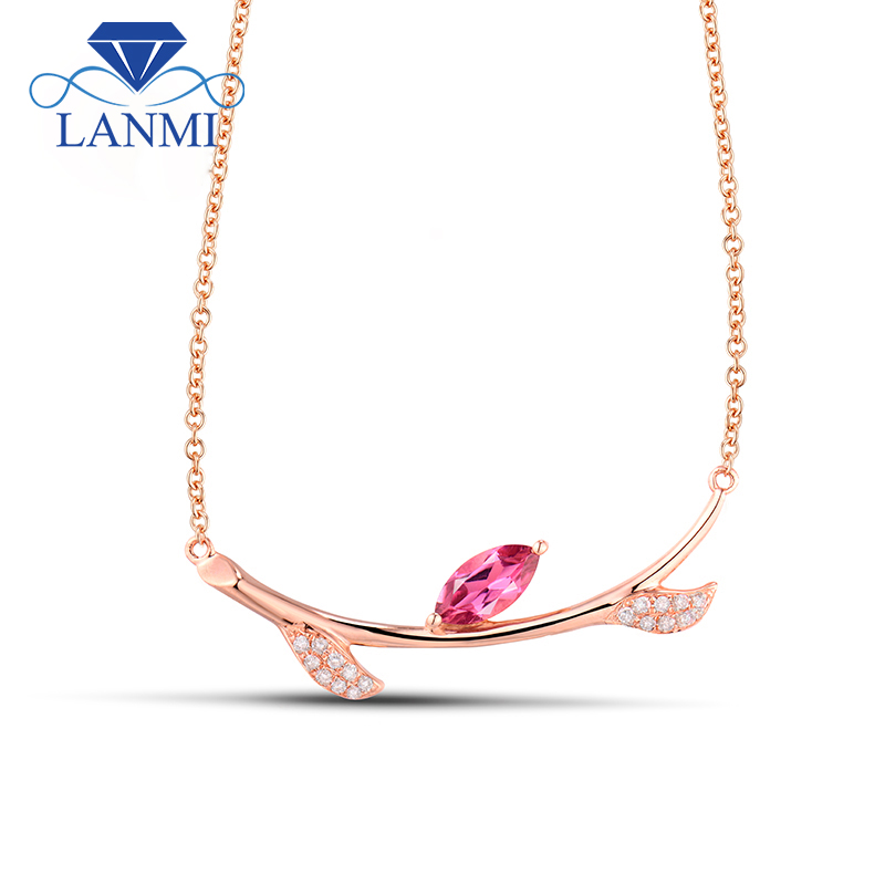 18K Rose Gold Tourmaline Natural Pink Pendant Necklaces Marquise Cut Gemstone Diamond Wedding Jewelry for Women