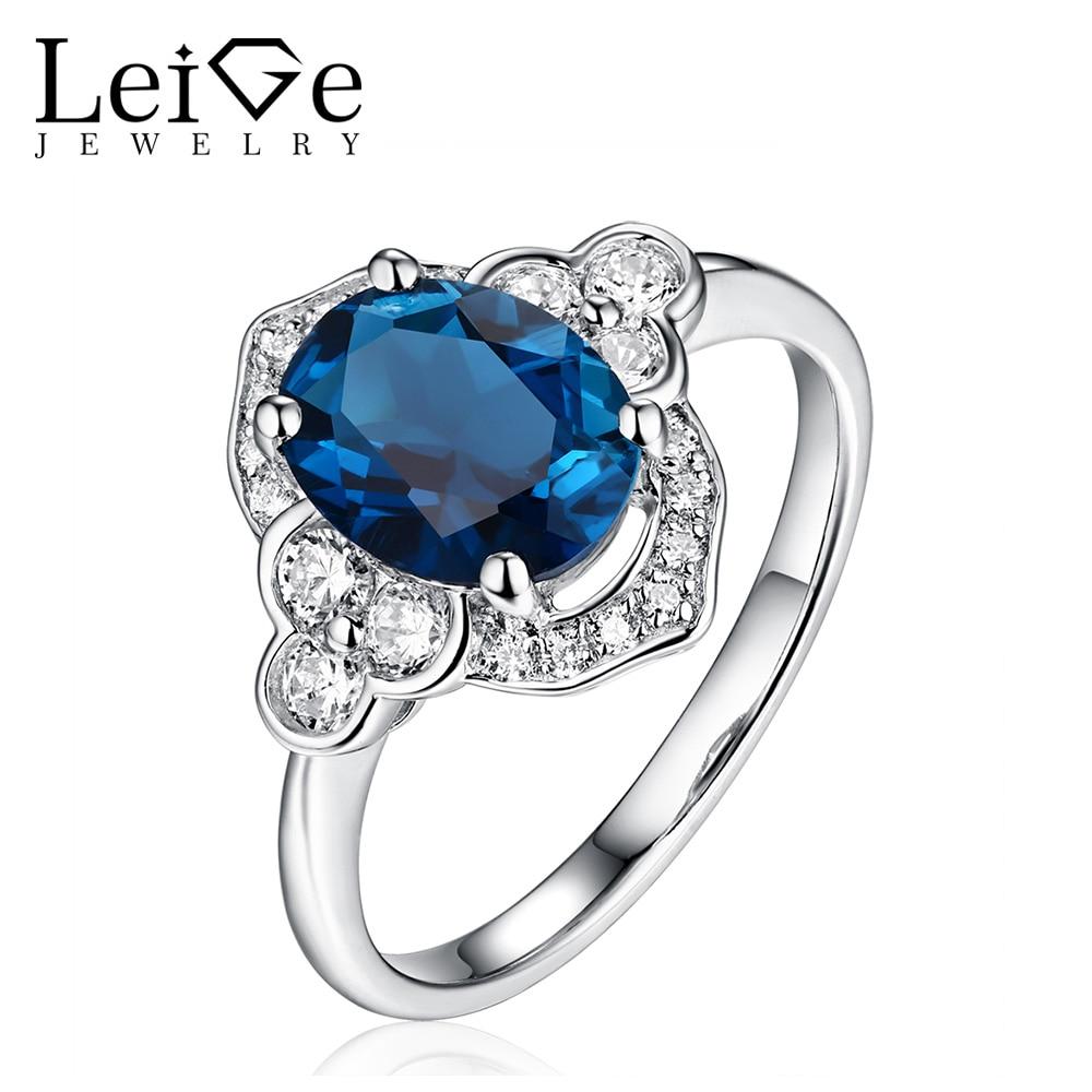 Leige šperky stříbrné London Blue Topaz prsten oválný řez přírodní drahokam ženy svatební slib prsteny výročí dárek