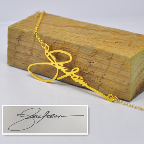 Gold Plate Signature Name font b Necklace b font Personalized Handwriting Pendent Custom Nameplate Bridesmaid font