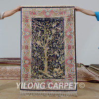 Yilong 3'x4.5' Antique oriental dark blue tree of life carpet exquisite discount persian rugs (1198)