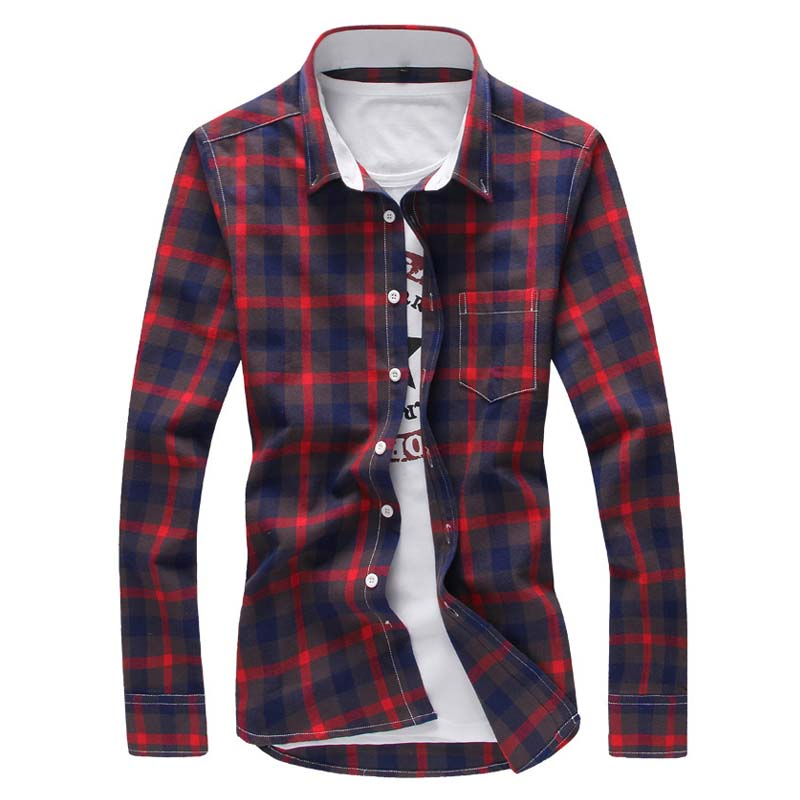 Men's Plaid Cotton Dress Shirts Male High Quality Long Sleeve Slim Fit Business Casual Shirt Men Plaid Shirt Long Sleeve Spring