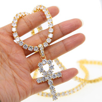 Men's Hip hop Bling Tennis Chain 1 Row cross Necklaces with AAA+ cubic zirconia Luxury Gold chain Men punk CROSS collars 2019