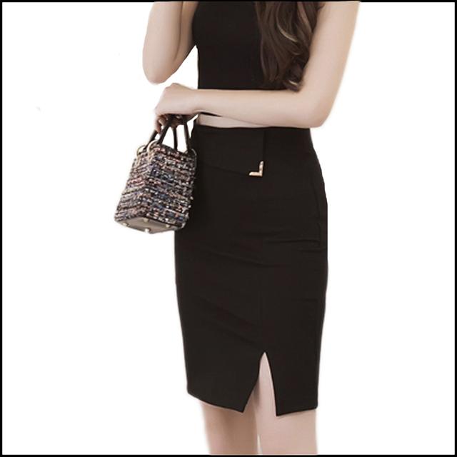 Mulheres no trabalho saias pacote de quadril novas saias de algodão Stretch Side saia de fenda sólida passo desgaste do trabalho saia fino plus size S-5XL