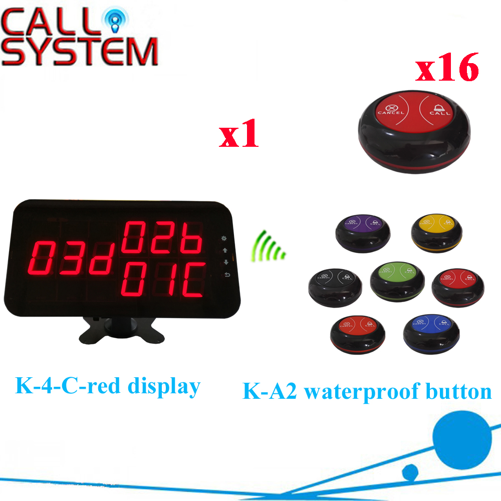 Wireless Buzzer Bell System New Arrival Restaurant Service Pager Full Beautiful Equipment( 1 display+16 call button )  wireless pager service restaurant cafe restaurant bell call room w999218 wireless pager