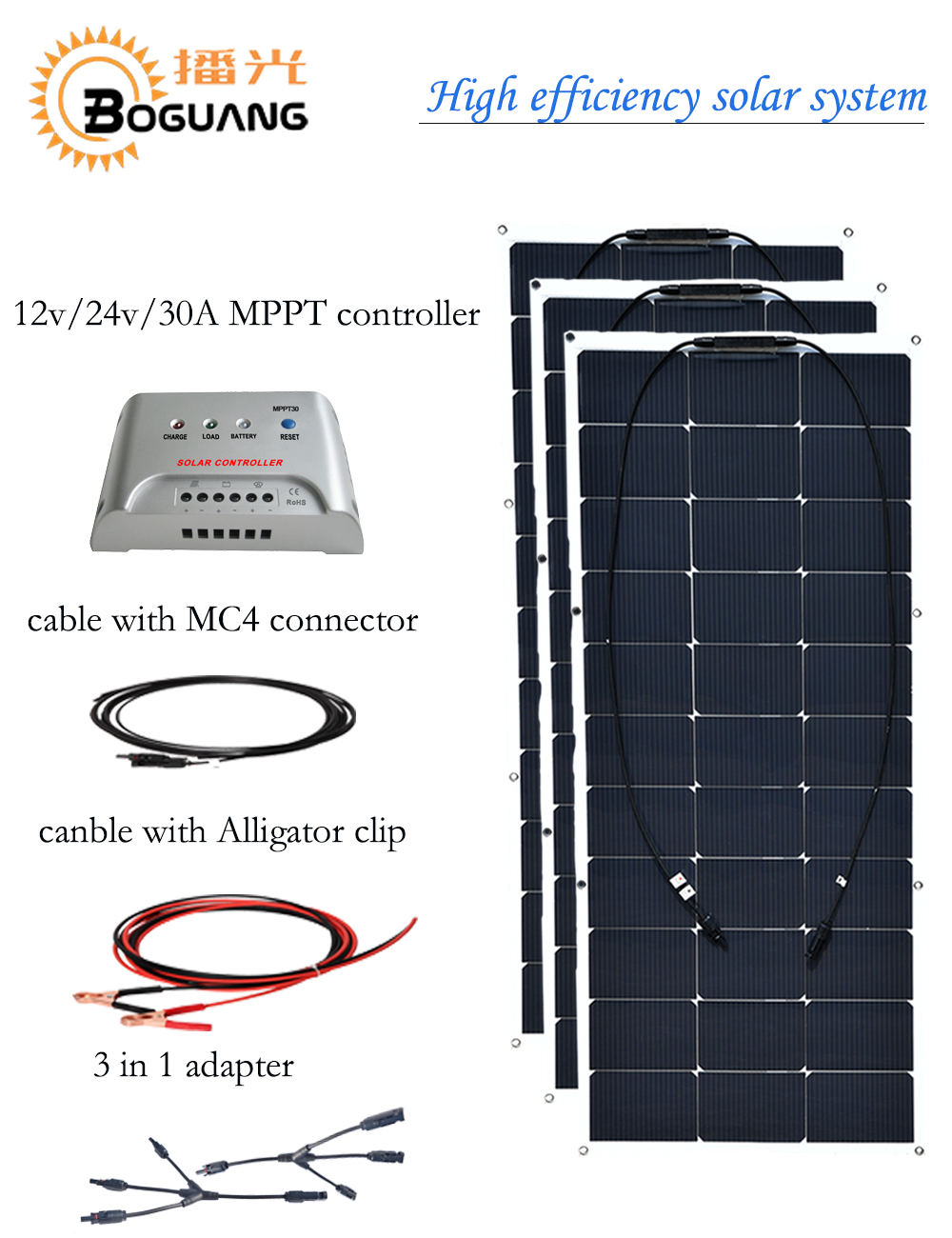 Boguang 300w semi flexible solar panel 30A MPPT controller cable Alligator clip cell 3 in 1 adapter MC4 connector 12v 24v 3*100w sunpower flexible solar panel 12v 100w monocrystalline semi flexible solar panel 100w solar cell 21
