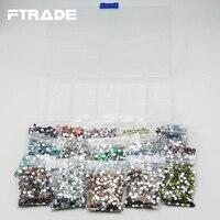 Top qualität 4mm 15 farbe Gemischt strass 15000 stücke Strass Aufbewahrungskoffer box Jedes raster 1000 stücke/farbe insgesamt 15 grid