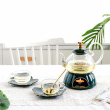 Northern European Light Luxury English Afternoon Tea Set Cup and saucer set High-grade Ceramic Glass Candle Boiled Fruit Teapot