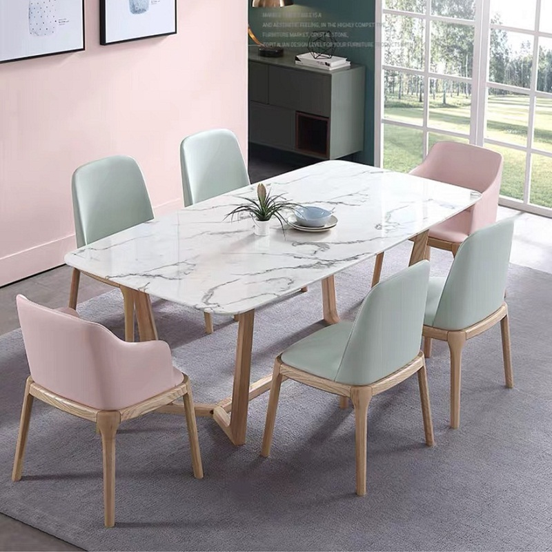 U-BEST Nordic Scandinavian Style Morden Hotel Wooden Dining Table, Customized Restaurant Furniture Kitchen Dining Room Table