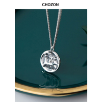 S925 Silver Necklace Women Korean Thai Silver Retro Hammer Texture Disc English Letter Clavicle Chain Exquisite Women Gift