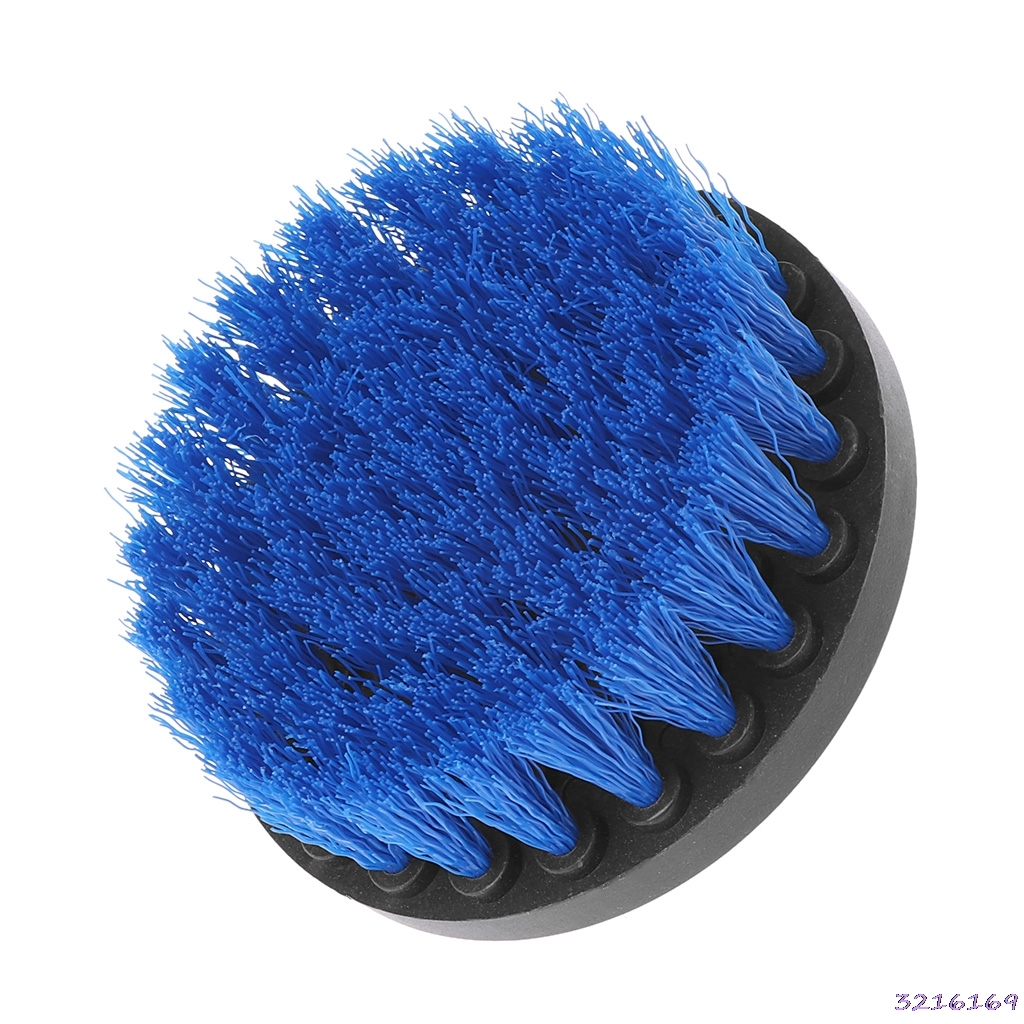 4 Blue color-Drill Cleaning Brush Heavy Duty With Stiff Bristles For Carpet Car Mats New -38#