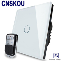2016 Crystal Glass Panel Switch Remote Wall Switch EU Touch Switches Screen Wall Light Smart Switch