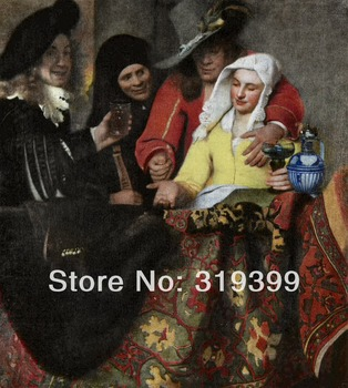 Johannes Vermeer 100% handmade Linen Canvas Oil Painting Reproduction,the-procuress-1656 ,Free FAST Shipping,unframed