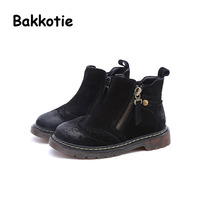 Bakkotie New Winter Baby Girl Retro Brogue Style Zipper Warm Boot Genuine Leather Child Ankle Booties