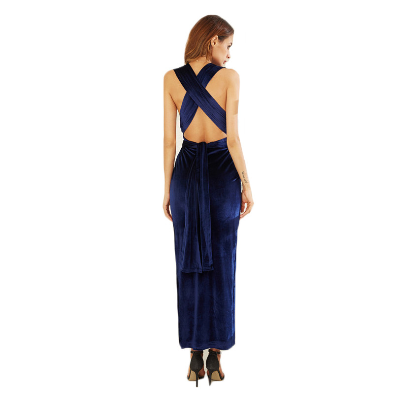 COLROVIE Womens Sexy Dresses Party Night Club Dress Elegant Dress Sexy Blue High Slit Velvet Convertible Backless Dress 6